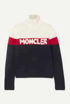 Moncler Wool And Cashmere-blend Jacquard Turtleneck Sweater - Navy