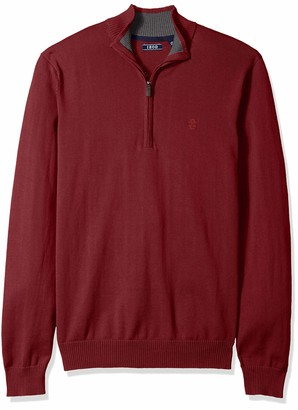 Izod Men's Premium Essentials Quarter Zip Solid 12 Gauge Sweater