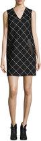 Rag & Bone Phoebe V-Neck Windowpane Shift Dress, Black/White