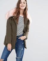 Brave Soul Parka With Contrast Faux Fur Hood