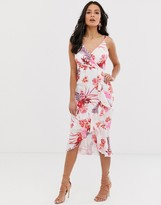 Lipsy cami midi dress with waterfall frill detail in floral print