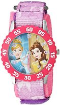 Disney Girl's 'Cinderella' Quartz Stainless Steel and Nylon Casual Watch, Color:Purple (Model: WDS000056)