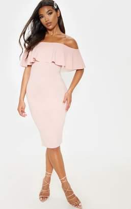 PrettyLittleThing Navy Bardot Frill Midi Dress