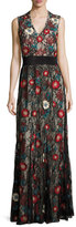 Alice + Olivia Sleeveless Embroidered Lace Column Gown, Black/Multicolor