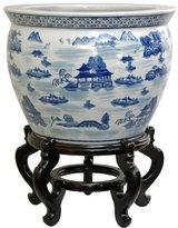 Oriental Furniture Subtle Serene Authentic Style, 16-Inch Fine Chinese Porcelain Fishbowl, Landscape Design