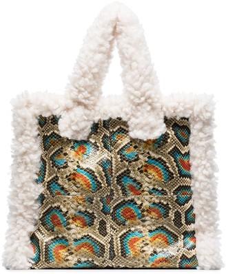 Stand Studio Shearling Trim Snake Print Tote Bag