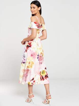 Very Bardot Printed Scuba Prom Dress - Floral