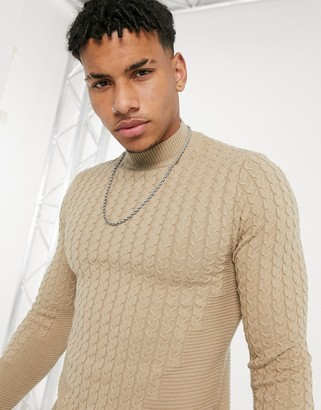 ASOS DESIGN muscle fit cable turtle neck jumper in ecru
