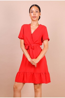 Lilura London Wrap Front Angel Sleeve Mini Dress In Red