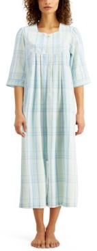 Miss Elaine Plaid Seersucker Long Zipper Robe