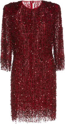 Naeem Khan Fringed Sequined Tulle Mini Dress