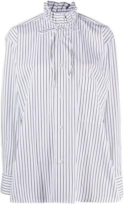 Plan C High-Neck Striped Shirt