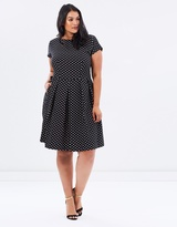 Polka Cap Sleeve Flare Dress