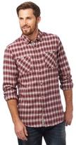 Mantaray Big And Tall Dark Red Two Tone Checked Print Shirt