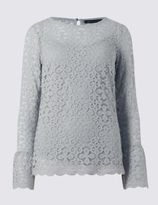 Marks and Spencer Lace Flute Sleeve Jersey Top