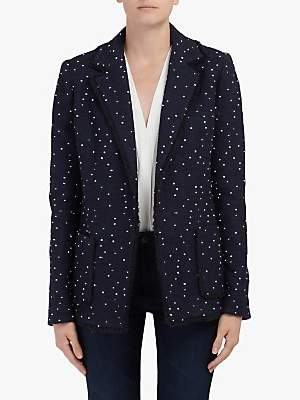 Helene For Denim Wardrobe Edge To Edge Wool Blazer, Navy