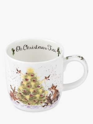 Royal Worcester Wrendale Oh Christmas Tree Mug, 310ml, White/Multi