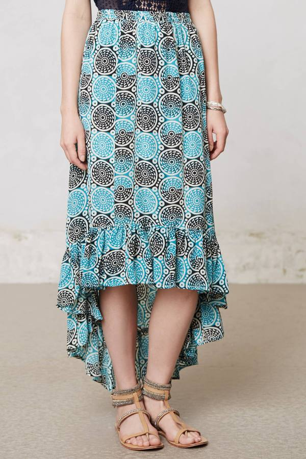 Anthropologie Sundial Silk Maxi Skirt