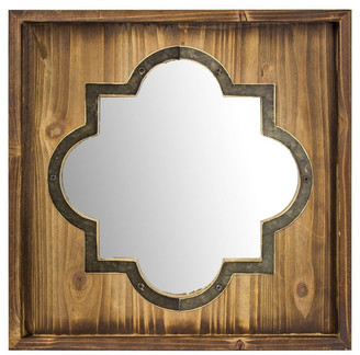American Art Decor Whitewashed Rustic Wood Metal Wall Vanity Farmhouse Mirror