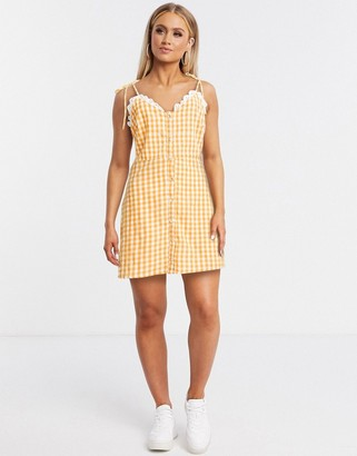 Gilli cami mini dress in yellow gingham