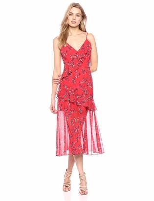 Keepsake Women's Heart and Soul Sleevless Ruffle Aline MIDI Dress