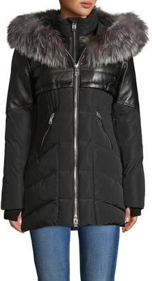 Nicole Benisti Meribel Fox Fur Trim & Leather Down Coat