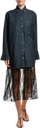 Valentino Denim & Lace Midi Shirtdress