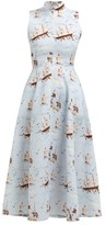Emilia Wickstead Sheila Ship-print Midi Dress - Womens - Blue Print