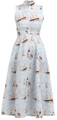 Emilia Wickstead Sheila Ship-print Midi Dress - Womens - Blue Print