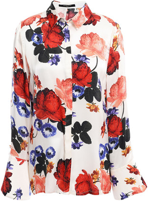 Mother of Pearl Fluted Floral-print Silk-satin Shirt