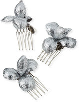 Gigi Burris Millinery Alchemia Floral Hair Combs, Silver, Boxed Set of Three