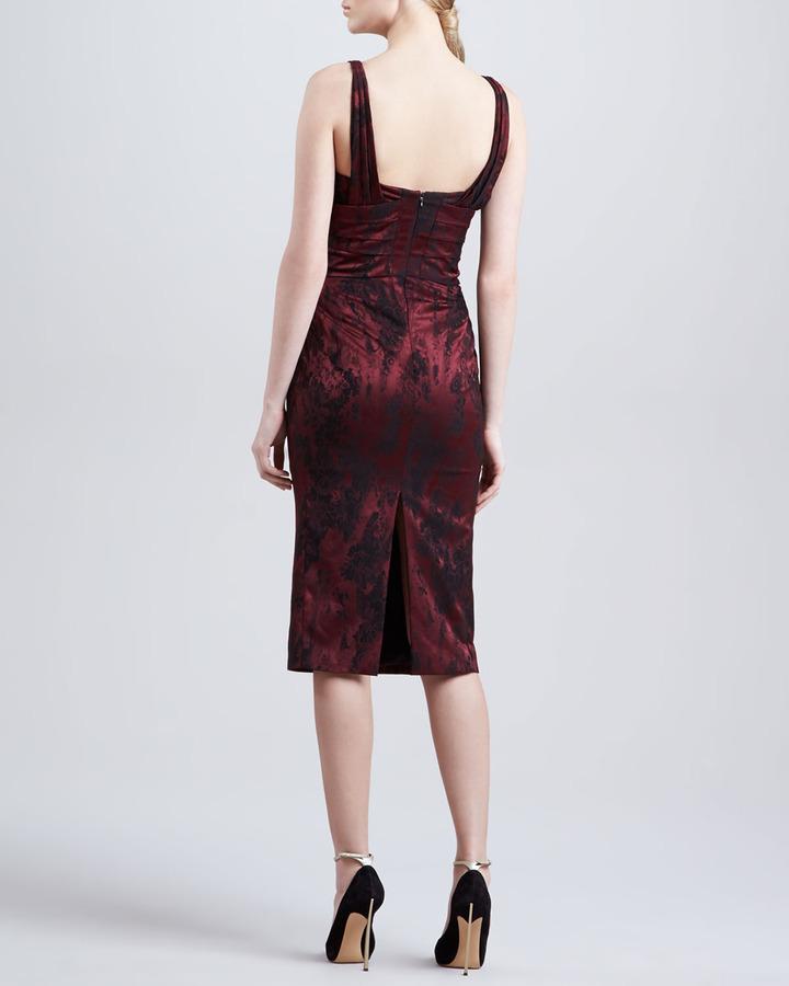 Zac Posen Sleeveless Jacquard Sweetheart Dress, Burgundy