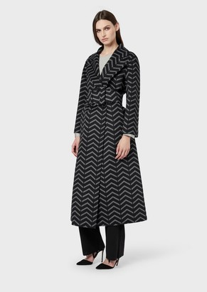 Giorgio Armani Oversized Coat In Wool And Cashmere With Chevron Motif