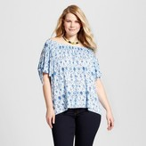 U-knit Women's Plus Size Printed Off the Shoulder Blouse - U-Knit - Blue