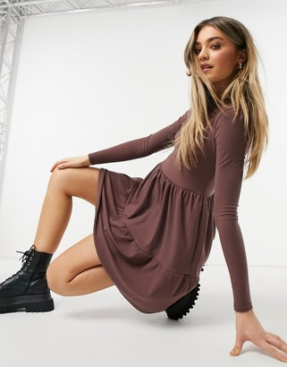 Miss Selfridge ribbed smock dress in burgundy