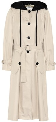 Miu Miu Hooded cotton trench coat
