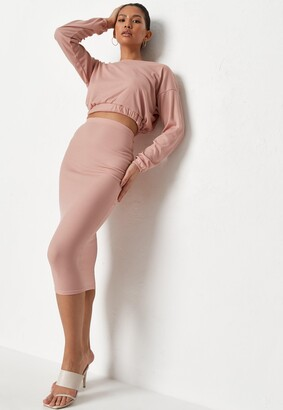 Missguided Pink Rib Crop Top And Midaxi Skirt Co Ord Set