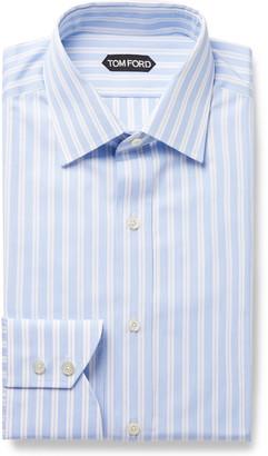 Tom Ford Grey Slim-Fit Striped Cotton-Poplin Shirt