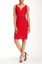 Marina Sleeveless Floral Lace Dress