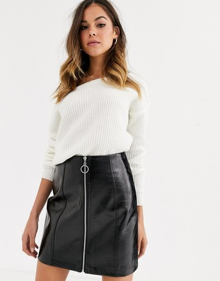 New Look zip through vinyl mini skirt in black