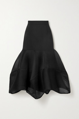 Akris Fluted Wool-blend Crepe And Mesh Midi Skirt - Black