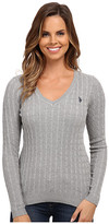 U.S. Polo Assn. Solid Cable Knit V-Neck Pullover