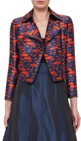 Akris Punto Women's 'The Oval' Crop Jacquard Moto Jacket