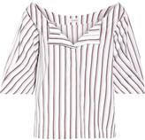 Isa Arfen Striped Cotton-poplin Top - White