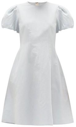 Brock Collection Puff-sleeved Cotton-blend Dress - Light Blue