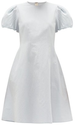 Brock Collection Puff-sleeved Cotton-blend Dress - Womens - Light Blue