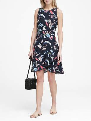 Banana Republic Petite Floral Ruffle Wrap Racerback Dress