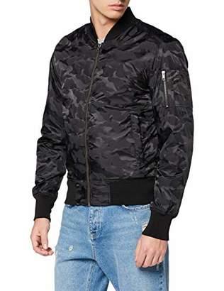 Urban Classic Men's Tonal Camo Bomber Jacket (Black 7)