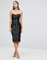 Paper Dolls Metallic Lace Bandeau Midi Dress