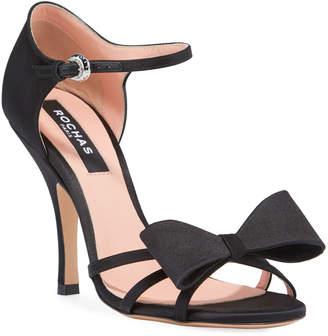 Rochas Satin High-Heel Bow Sandals